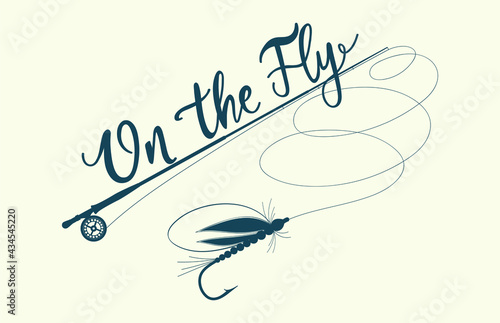 On the fly! Fly fishing label, vector Fototapet