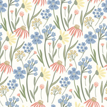 Herbal  Seamless Pattern With Wild Or Meadow Flowers  On Light Yellow Background. Summer Floral Print. Great Textile For Throw Pillow, Phone Cases, Bed Linens, Wallpaper.