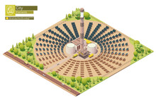 Vector Isometric Concentrated Solar Power Plant. Concentrating Solar Power Or Concentrated Solar Thermal System With Power Tower And Mirrored Heliostats