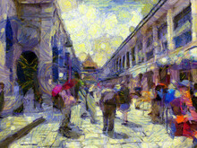 The Grand Palace, Wat Phra Kaew Bangkok Thailand Illustrations Creates An Impressionist Style Of Painting.