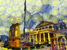 Ancient Buildings European Architecture Ministry Of Defense Thailand Illustrations Creates An Impressionist Style Of Painting.