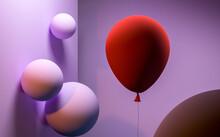 Matt Velvet Pink Balls On The Wall And Red Matt Balloon. Surrealism. Magic Realism. 3d Rendering