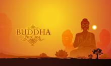 Vector Illustration Of Happy Vesak Day, Buddha Purnima  Lord Buddha Meditating On Lotus, Buddhist Festival