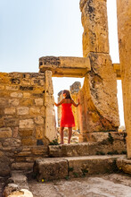 Girl In Hierapolis Ancient City Ruins Pamukkale Turkey UNESCO World Heritage