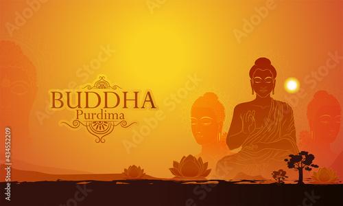 Fotografia Vector illustration of Happy Vesak Day, Buddha Purnima  Lord Buddha meditating o