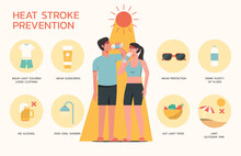Infographic Of Heatstroke Prevention With Sign Symbol And Icon, Young Adult Standing On Hot Weather, Vector Flat Design Illustration