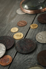 Numismatics. Old Collectible Coins Of Silver, Gold And Copper On The Table.