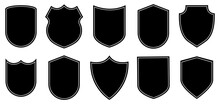 Set Of Badge Shape. Vector Military Shield Silhouettes. Security, Football Patches Isolated On White Background