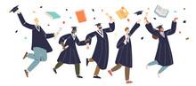 Graduating Students Group, Graduates Jumping. Class Celebrate College Or University Graduation