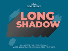 Long Shadow Text Effect. Left Shadow Vintage Editable Text Font Effect Vector Graphic Design.
