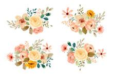 Watercolor Rose Flower Bouquet Collection