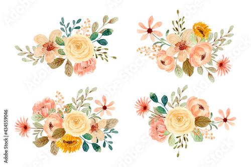 Fotografie, Obraz Watercolor rose flower bouquet collection
