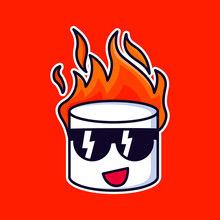 Cool Marshmallow On Fire Design