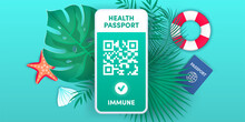 Electronic Health Passport QR Code On Smartphone Screen Vector Concept. Vaccination Green Certificate On Mobile Phone. Health Pass App, Negative Corona Virus Test. Covid-19 Vaccine For Safe Tourism