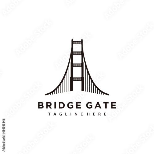 Stampa su Tela Bridge gate minimalist logo design icon vector
