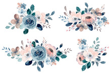 Blue Rose And Peach Flower Bouquet Collection With Watercolor