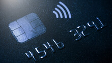 Macro Detail Of A Brand New Black And Gray Luxurious Credit Card, Concept EMV Chip Card Is A Technical Standard For Smart Payment Cards , One Of The Digital Banking, It Gives The Customer.