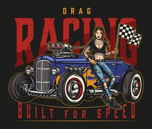 Drag Racing Vintage Colorful Label