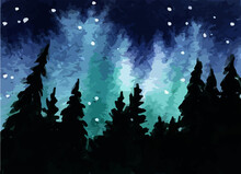 Northern Lights Aurora Borealis Watercolor Vector Graphic Landscape With Trees And Sky