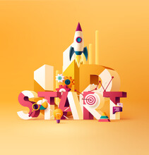Start Up Typographic Concept.  3D Word Lettering With Colored Icons On Bright Background.