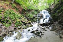 Small Waterfall Mountain River Among Trees