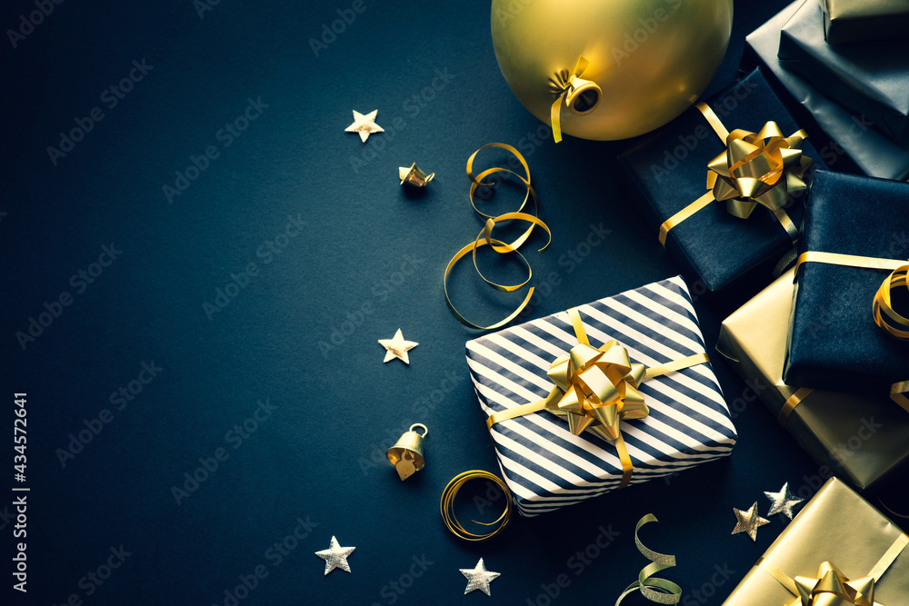 Selective focus.group of gift box and party ornament.Merry christmas,xmas and new year celebration concepts
