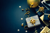 Fototapeta Kawa jest smaczna - Selective focus.group of gift box and party ornament.Merry christmas,xmas and new year celebration concepts