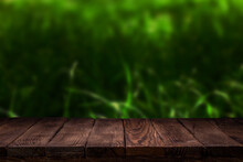Scene Creator Empty Wooden Deck Table With Summer Bokeh Background