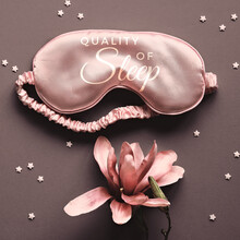 Sleep Mask With Fragrant Magnolia Flower. Monochromatic Look, Sepia Toned Image. Paper Background With Stars. Text Good Night On The Mask. Quality Of Sleep Concept. Creative Minimal Flat Lay.