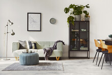 Stylish Loft Interior With Green Sofa Design Pouf Decoration Elegant Accessories Modern Home Decor