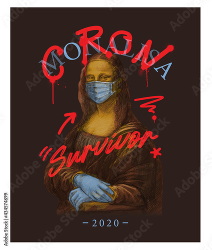 Tablou Canvas corona and survivor typography with Mona Lisa painting,vector illustration for t-shirt