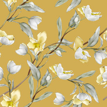 Seamless Pattern With Yellow Wildflowers In A Watercolor Style