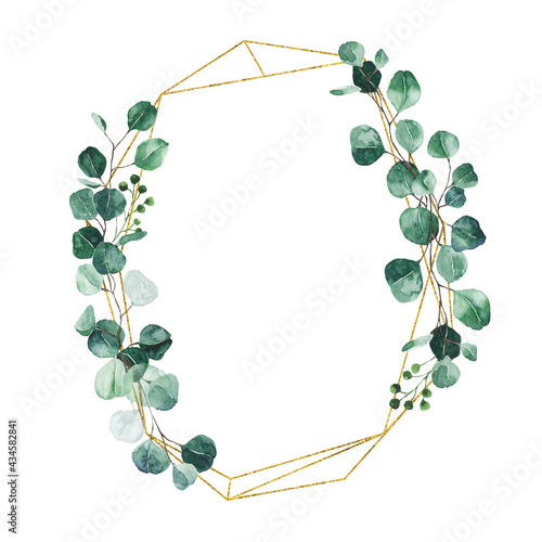 Fotografiet Watercolor eucalyptus gold wreath with green leaves isolated on white background