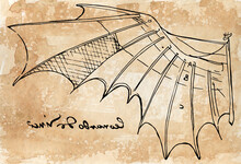 Sepia Digital Illustration Of Leonardo Da Vinci Wing Sketch From The Flight Code With His Famous Left-handed Signature