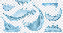 Water Splash With Transparent. 3d Vector Realistic Set Of Objects