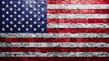 Flag Of USA Rendered In A Futuristic 3D Style. American Innovation Concept. Tech Background.