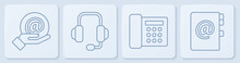 Set Line Mail And E-mail In Hand, Telephone, Headphones And Address Book. White Square Button. Vector
