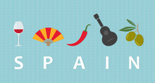 Travel To Spain Concept; Wine Glass, Hand Fan, Chilli Pepper, Guitar And Olives- Vector Illustration