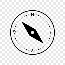Compass Vector Icon Isolated On Trasparent Background. Element For Map