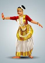 Kerala Traditional Dance Performance Mohiniyattam. Vector Illustration Design
