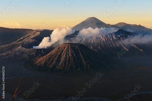 Valokuvatapetti Clouds of smoke on Mount Bromo volcano, Indonesia