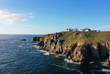 Lands End, Cornwall, Aerial View, Beautiful, Drone Point Of View, Cliffs, Sunny, Clifftop View, Beautiful Aerial View Of Lands End