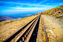 21/04/2019 Snowdonia, Wales UK. Snowdon Mountain Railway . Close-up Of Train Track-located On Snowdon Mountain. Image Not In Focus