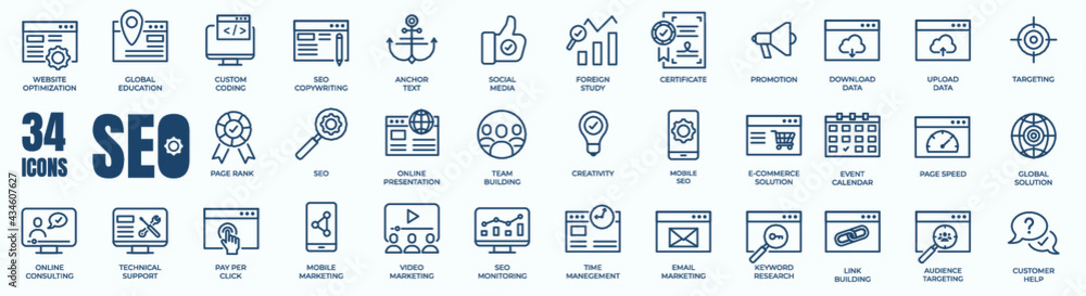 Set of editable line icons of SEO - Search Engine Optimization. Thin line web icon collection. Simple vector illustration of development, optimization, analysis, and analytic. - obrazy, fototapety, plakaty