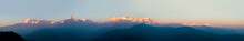 Panorama Of Annapurna In Himalaya Mountain Range With Sunset Colors, Pokhara, Nepal