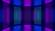 Ultraviolet Podium Decoration Empty Stage. Pink Violet Blue Neon Room Abstract Background. Night Club Interior. Glowing Wall Panels. 3d Illustration.
