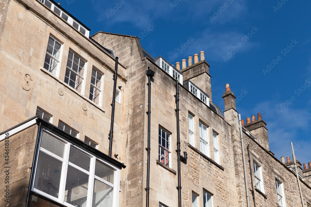 Street view of Bath, Somerset. Old houses