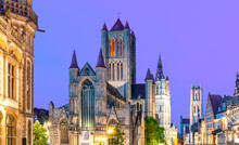 Gent Cityscape With Saint Nicholas Church, Belfort Tower And St. Bavo Cathedral At Sunset, Belgium