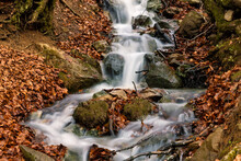 Water Stream In Gavarnie Circus France Autumn At Long Exposure