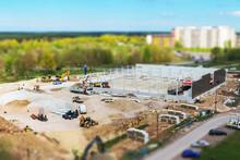 Construction Site With Heavy Equipment. Tilt-shift Effect.